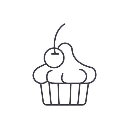 Cherry dessert line icon concept. Cherry dessert vector linear illustration, sign, symbol
