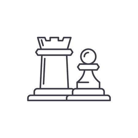 Chess pieces rook and pawn line icon concept. Chess pieces rook and pawn vector linear illustration, sign, symbol