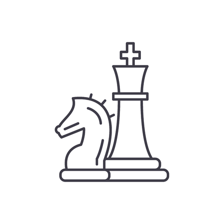 Chess pieces, knight and queen line icon concept. Chess pieces, knight and queen vector linear illustration, sign, symbol