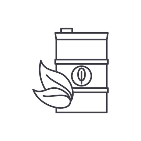Bio fuel line icon concept. Bio fuel vector linear illustration, sign, symbol