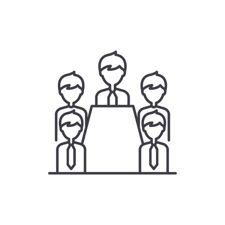 Board of directors line icon concept. Board of directors vector linear illustration, sign, symbol Ilustrace