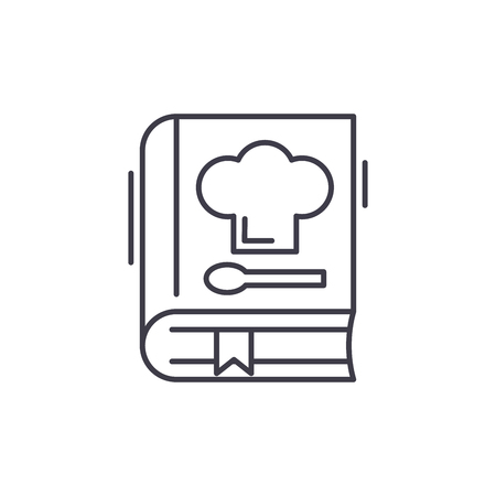 Book of recipes line icon concept. Book of recipes vector linear illustration, sign, symbol