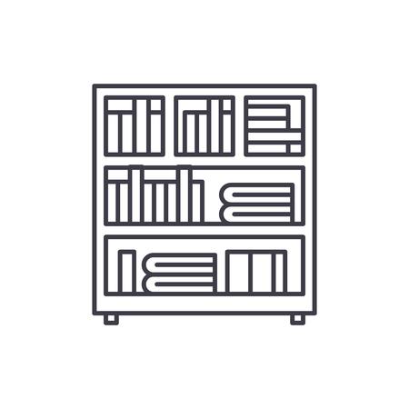 Bookcase line icon concept. Bookcase vector linear illustration, sign, symbol