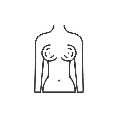 Breast augmentation line icon concept. Breast augmentation vector linear illustration, sign, symbol Archivio Fotografico - 112690457
