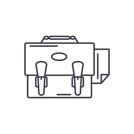 Business portfolio line icon concept. Business portfolio vector linear illustration, sign, symbol