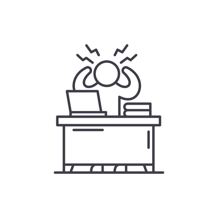 Business stress line icon concept. Business stress vector linear illustration, sign, symbol