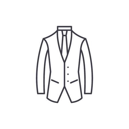 Business suit line icon concept. Business suit vector linear illustration, sign, symbol