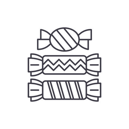 Candy line icon concept. Candy vector linear illustration, sign, symbol Çizim