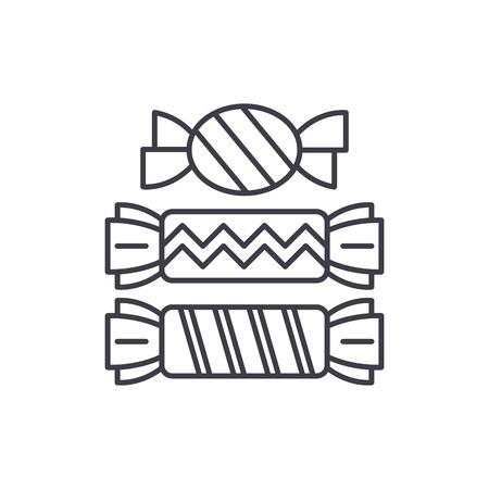 Süßigkeiten Symbol Leitung Konzept. Süßigkeitsvektor lineare Illustration, Zeichen, Symbol