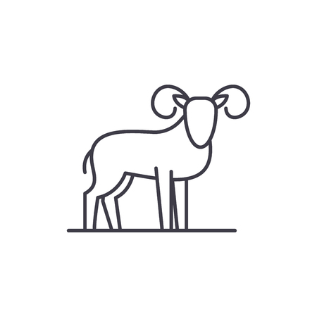 Capricorn line icon concept. Capricorn vector linear illustration, sign, symbol