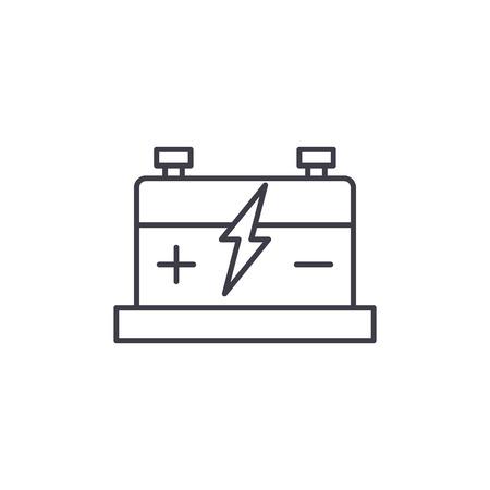 Car battery line icon concept. Car battery vector linear illustration, sign, symbol Illustration