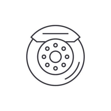 Car brake pads line icon concept. Car brake pads vector linear illustration, sign, symbol Foto de archivo - 127523299