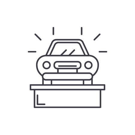 Car showroom line icon concept. Car showroom vector linear illustration, sign, symbol