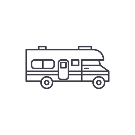 Caravan car line icon concept. Caravan car vector linear illustration, sign, symbol Foto de archivo - 127523300