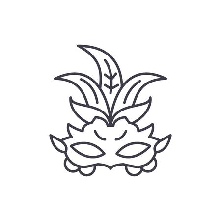 Carnival mask line icon concept. Carnival mask vector linear illustration, sign, symbol