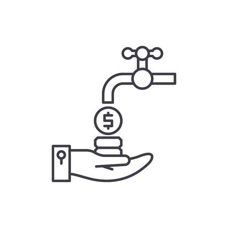 Cash flow line icon concept. Cash flow vector linear illustration, sign, symbol Ilustrace