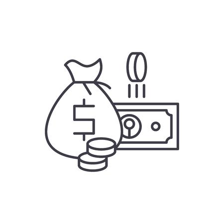 Cash money line icon concept. Cash money vector linear illustration, sign, symbol