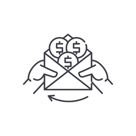 Cash payments line icon concept. Cash payments vector linear illustration, sign, symbol