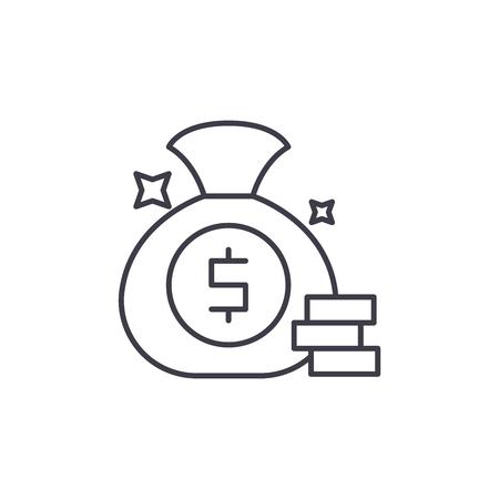 Cash win line icon concept. Cash win vector linear illustration, sign, symbol