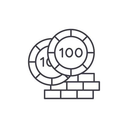 Casino chips line icon concept. Casino chips vector linear illustration, sign, symbol Illustration