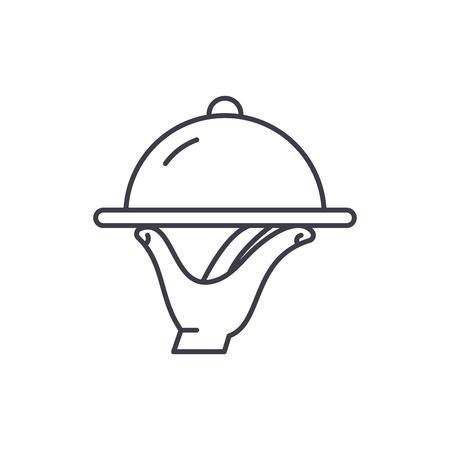 Concepto de icono de línea de catering. Catering vector Ilustración lineal, signo, símbolo