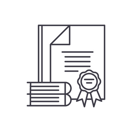 Certification line icon concept. Certification vector linear illustration, sign, symbol