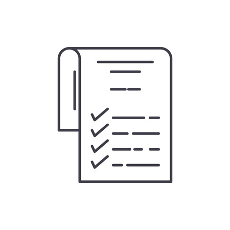 Check list line icon concept. Check list vector linear illustration, sign, symbol