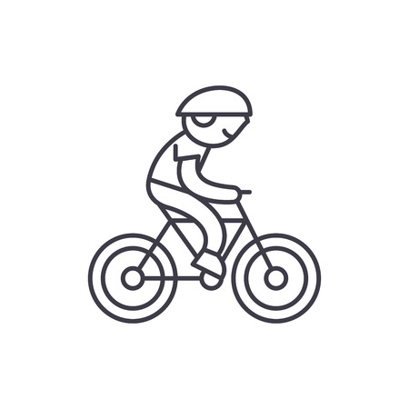 Child riding a bike line icon concept. Child riding a bike vector linear illustration, sign, symbol