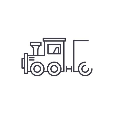 Childrens locomotive line icon concept. Childrens locomotive vector linear illustration, sign, symbol Illustration