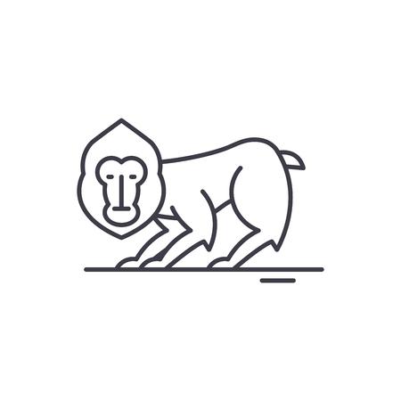 Chimpanzee line icon concept. Chimpanzee vector linear illustration, sign, symbol