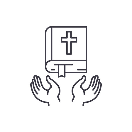 Christian religion line icon concept. Christian religion vector linear illustration, sign, symbol Banco de Imagens - 112690868