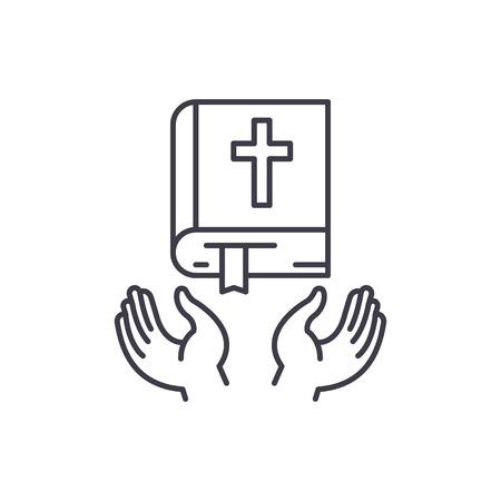 Concepto de icono de línea de religión cristiana. Ilustración linear del vector de la religión cristiana, signo, símbolo