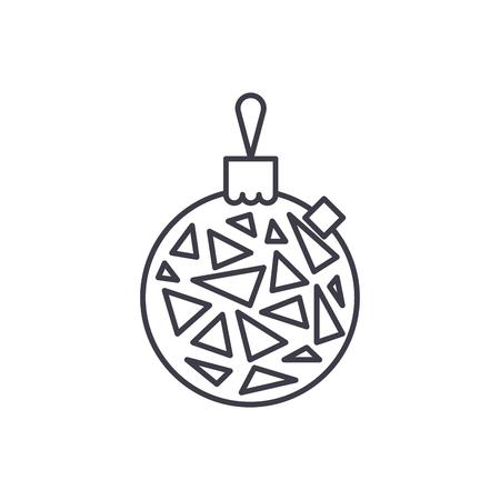 Christmas ball line icon concept. Christmas ball vector linear illustration, sign, symbol