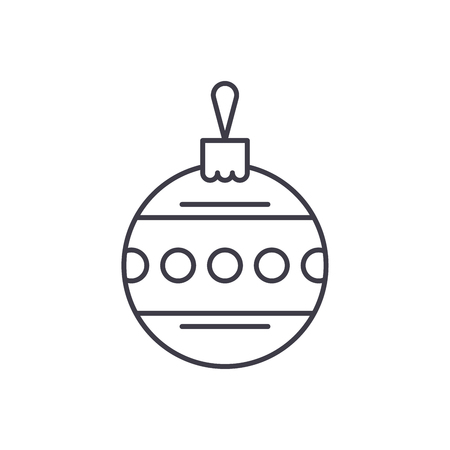 Christmas ball with ornament line icon concept. Christmas ball with ornament vector linear illustration, sign, symbol Illustration