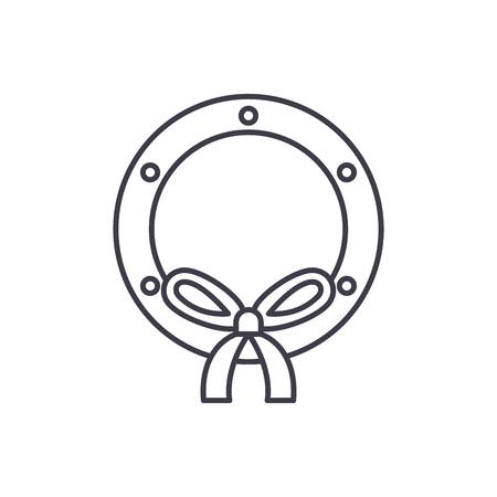 Christmas decor wreath line icon concept. Christmas decor wreath vector linear illustration, sign, symbol