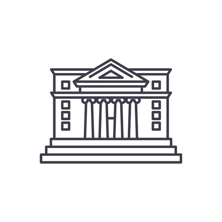 City hall line icon concept. City hall vector linear illustration, sign, symbol