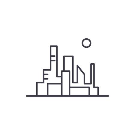 Cityscape of the capital line icon concept. Cityscape of the capital vector linear illustration, sign, symbol