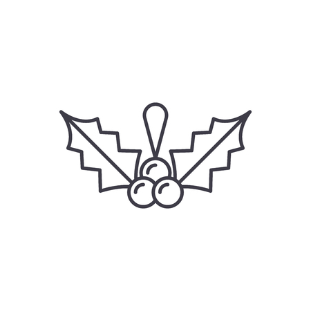 Christmas mistletoe line icon concept. Christmas mistletoe vector linear illustration, sign, symbol