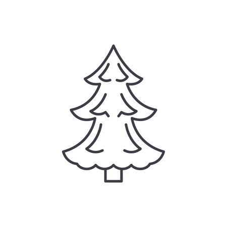 Christmas tree line icon concept. Christmas tree vector linear illustration, sign, symbol  イラスト・ベクター素材