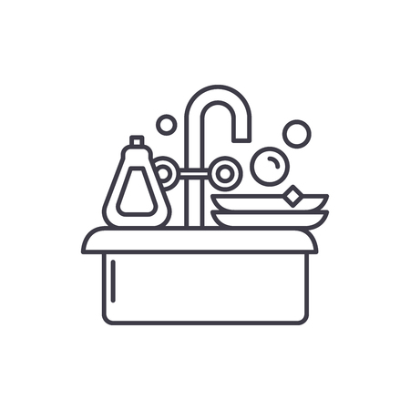 Cleaning dishes line icon concept. Cleaning dishes vector linear illustration, sign, symbol