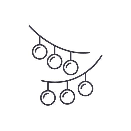 Christmas lights line icon concept. Christmas lights vector linear illustration, sign, symbol