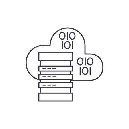 Cloud hosting line icon concept. Cloud hosting vector linear illustration, sign, symbol