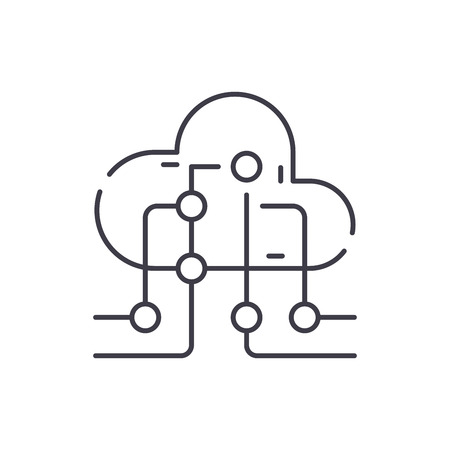 Cloud information technology line icon concept. Cloud information technology vector linear illustration, sign, symbol