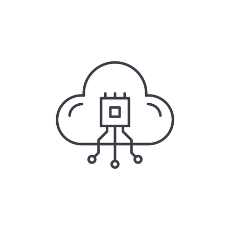 Cloud technologies system line icon concept. Cloud technologies system vector linear illustration, sign, symbol