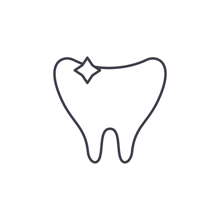 Clean tooth line icon concept. Clean tooth vector linear illustration, sign, symbol