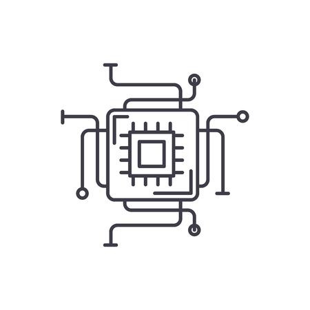 Computer processor line icon concept. Computer processor vector linear illustration, sign, symbol