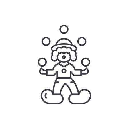 Concepto de icono de línea de malabarista de payaso. Payaso malabarista vector Ilustración lineal, signo, símbolo Ilustración de vector