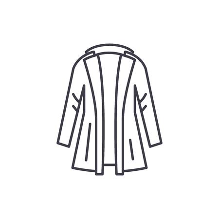 Coat line icon concept. Coat vector linear illustration, sign, symbol Banque d'images - 127493376