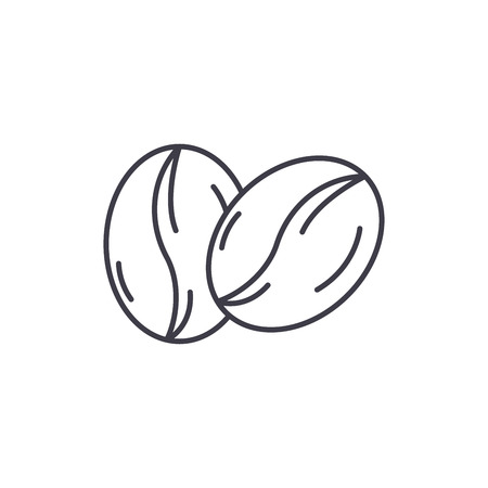 Coffee beans line icon concept. Coffee beans vector linear illustration, sign, symbol