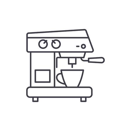 Coffee machine line icon concept. Coffee machine vector linear illustration, sign, symbol Illustration
